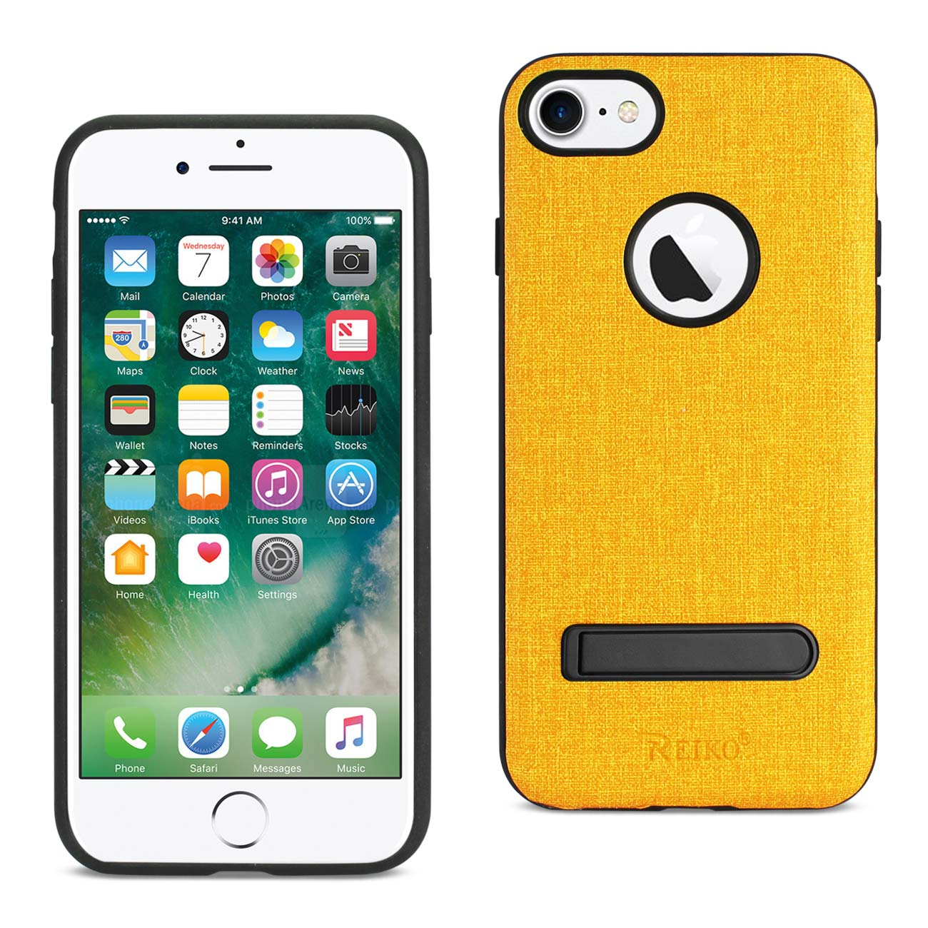 REIKO IPHONE 7/ 6/ 6S DENIM TEXTURE TPU PROTECTOR COVER IN YELLOW