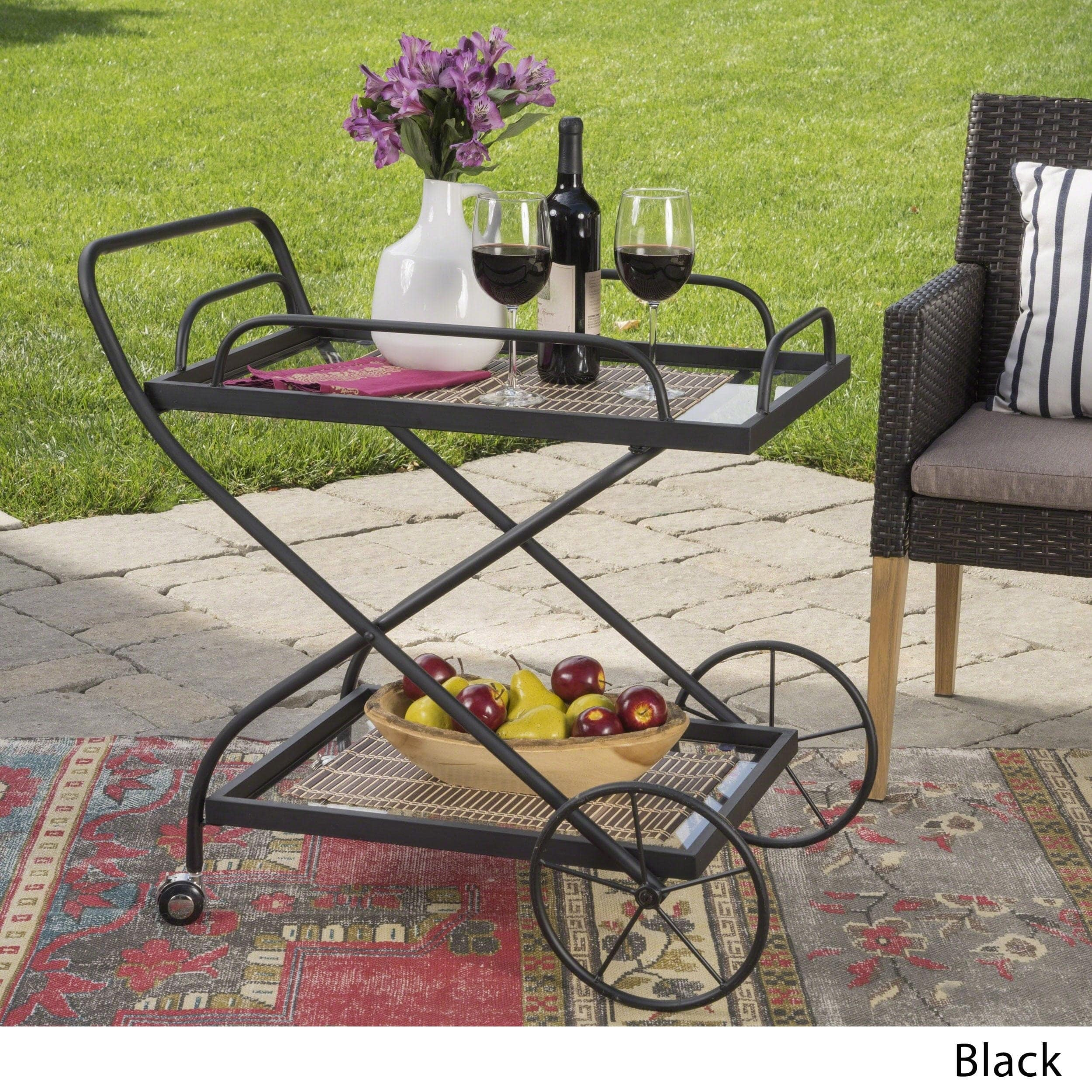 Christopher Knight Home Indio Outdoor Traditional Iron Glass Bar Cart with Shelves by  Black