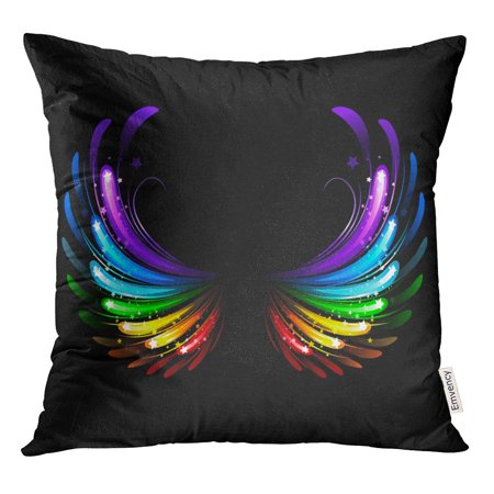STOAG Green Angel Wings Colorful Sparkles on Blue Rainbow Star Throw Pillowcase Cushion Case Cover 16x16 inch Rainbow Star Sparkle