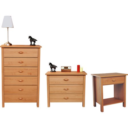 Nouvelle Dresser, Chest and Nightstand Set, Oak