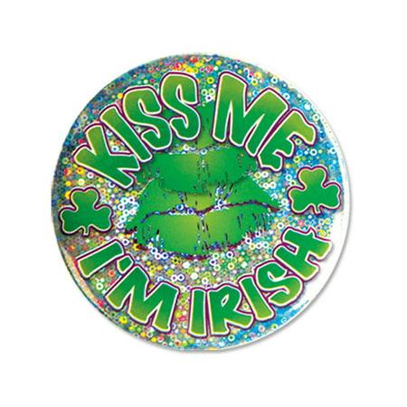 Kiss Me I'm Irish Lazer Etched Jumbo Button Costume