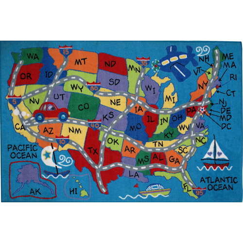 Fun Rugs Children's Fun Time Collection, Travel Fun