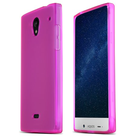 Pink Flexible Silicone - Sharp Aquos Crystal TPU Case [Hot Pink] Protective Bumper Case w/ Flexible Crystal Silicone TPU Impact Resistant Material [Slim and Perfect Fitting Sharp Aquos Crystal Case]