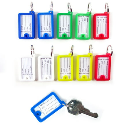 10 Pc Color Coded Key Tags Keychain Split Rings Labels Color Plastic Key ID Home