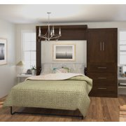 """Pur by Bestar 101"""" Queen Wall bed kit in Chocolate"""