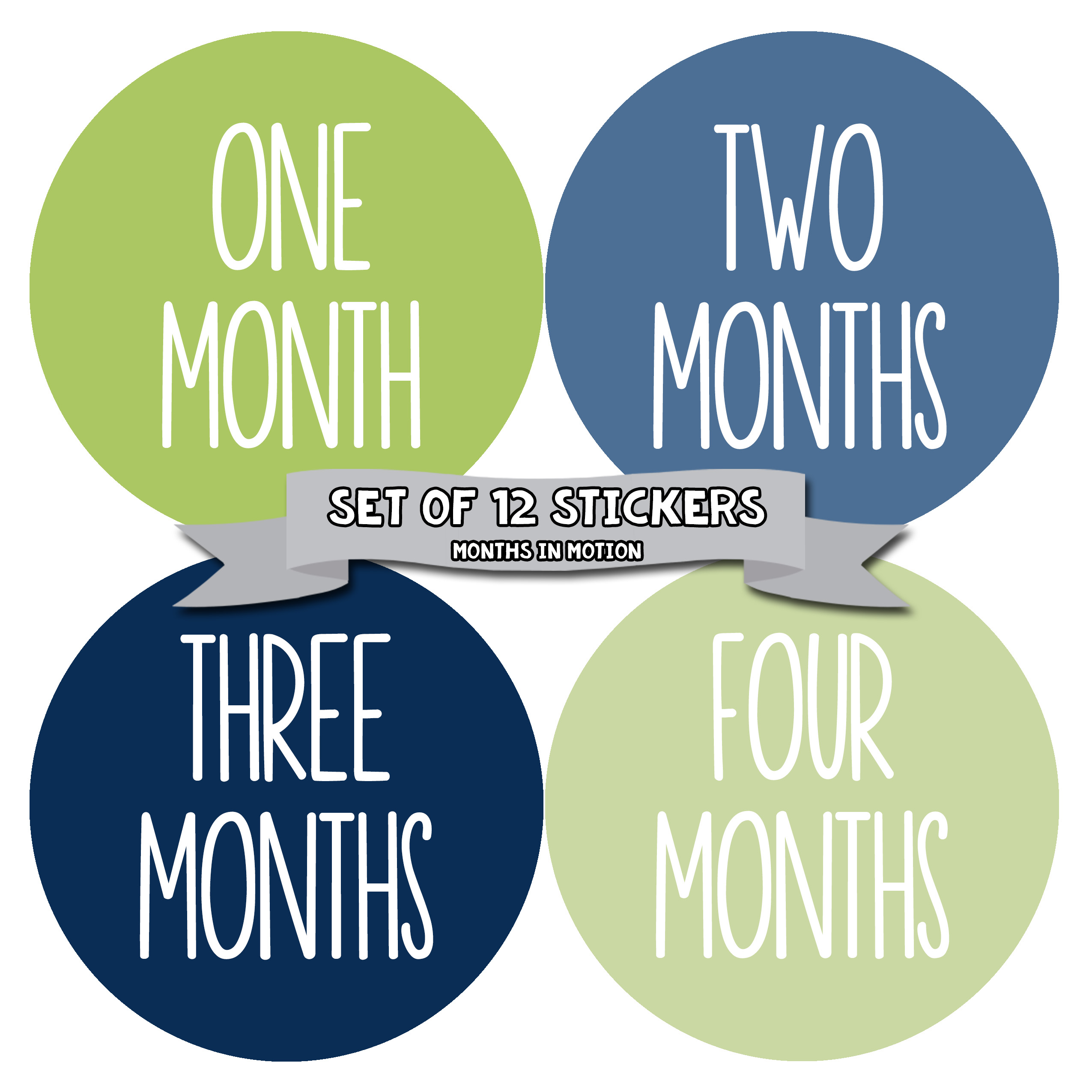 Baby Month Stickers by Months In Motion | 12 Monthly Milestone Stickers for Baby Boy (1051)