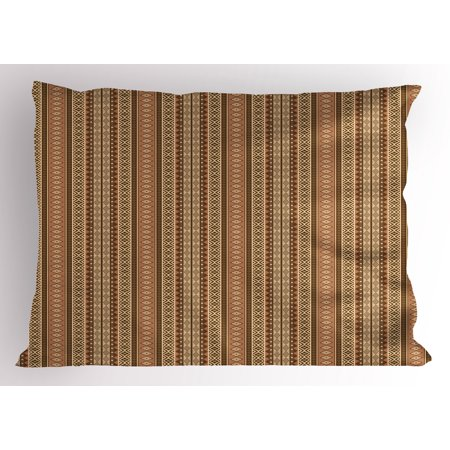 Oriental Pillow Sham Geometric African Culture Influenced Rhombuses and Herringbone Pattern, Decorative Standard Queen Size Printed Pillowcase, 30 X 20 Inches, Brown Pale Brown Beige, by Ambesonne