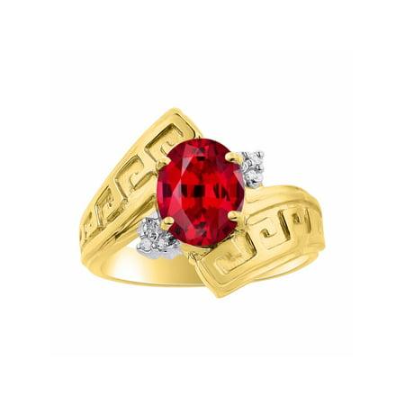 Diamond & Ruby Ring Set In Yellow Gold Plated Silver - Greek Key Design - Color Stone Birthstone Ring (Ruby Greek Key Ring)