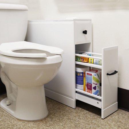 free standing toilet paper holder bathroom cabinet slideout drawer storage white. Black Bedroom Furniture Sets. Home Design Ideas