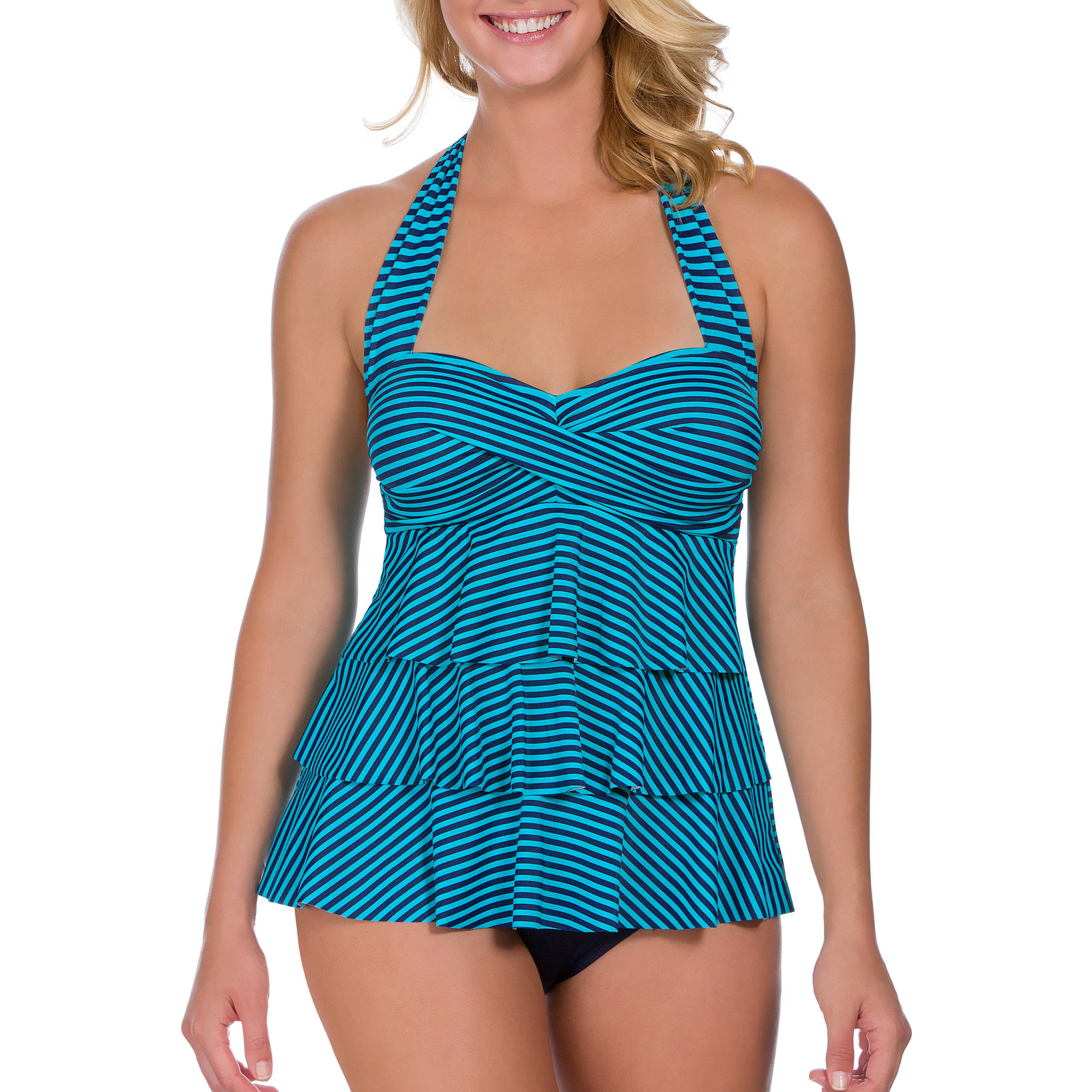 Suddenly Slim By Catalina Women's Retro Ruffled Slimming One-Piece Swimsuit