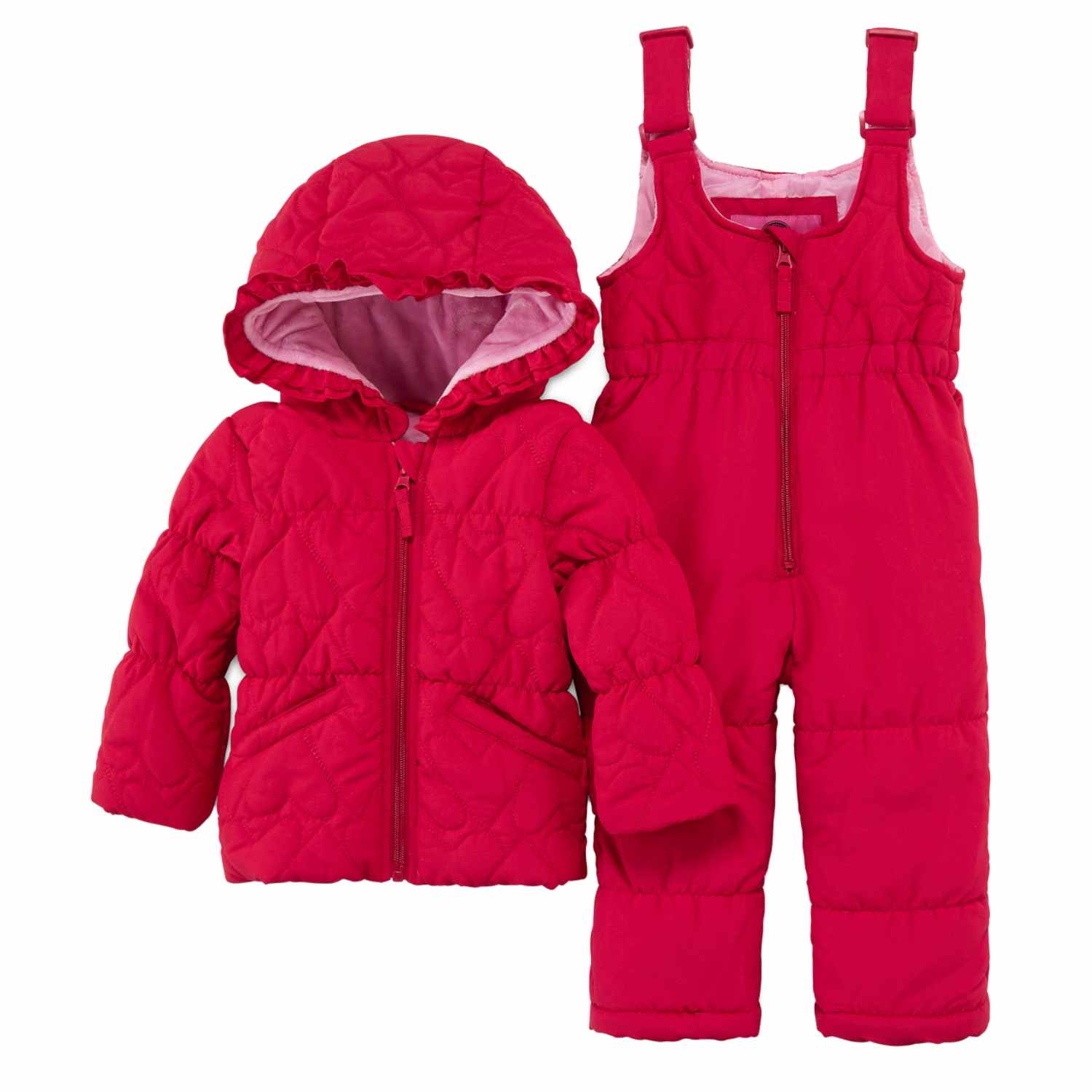 Weatherproof Infant Girls Red Heart 2 PC Snow Bibs & Coat Set Snowsuit