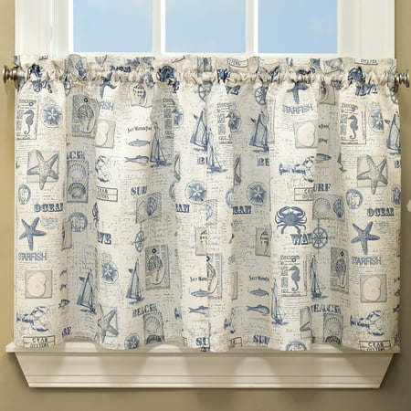 By The Sea Printed Ocean Beach Images Kitchen Curtains 24\