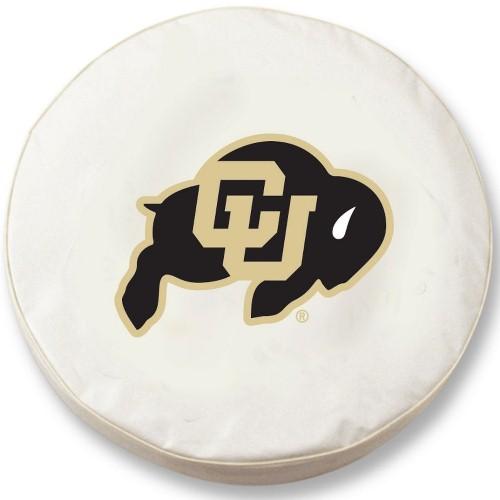 NCAA Tire Cover by Holland Bar Stool - Colorado Buffaloes, White - 30.75'' x 10''