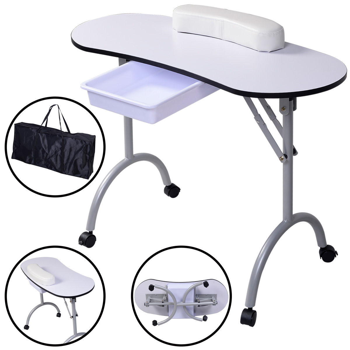 Costway Portable Manicure Nail Table Station Desk Spa Beauty Salon Equipment White