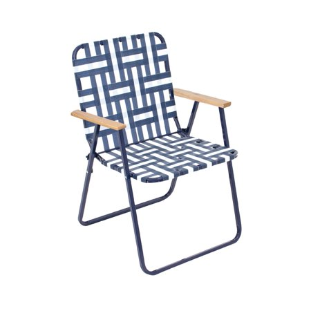 Rio Brands Hi-Back Folding Web Chair Blue and White, 6 Chairs ()