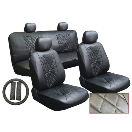 Volvo 940 Seat Belt - 13 Piece Luxury Diamond Stitch Pattern Leatherette Volvo Black Seat Cover Set - 2 Front Seats, Rear Bench, Steering Wheel Cover, Seat Belt Pads