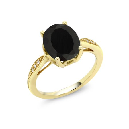 14K Yellow Gold 2.54 Ct Oval Black Onyx and Diamond Ring