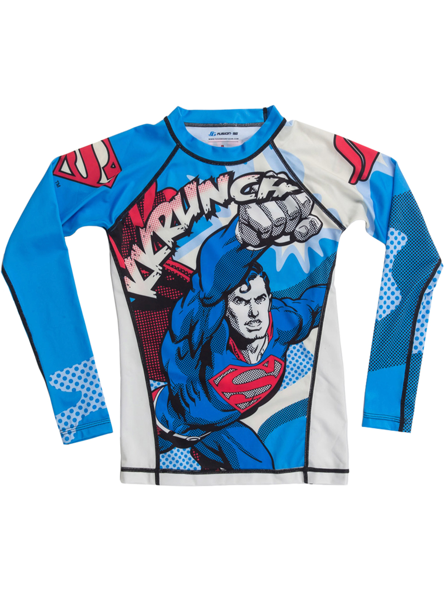 Fusion Fight Gear Kid's Superman Krunch Long Sleeve Rashguard