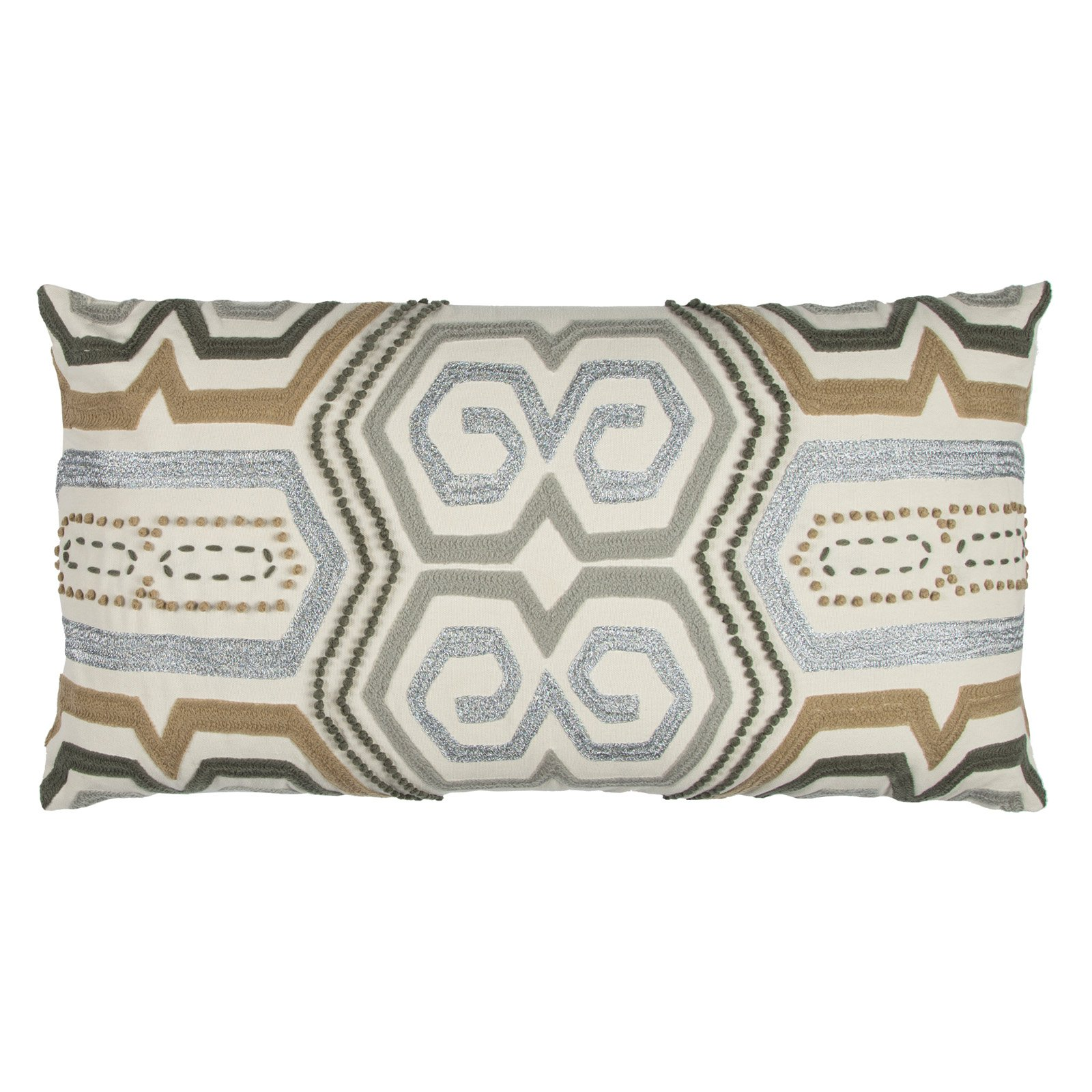 "Rizzy Home Decorative Poly Filled Throw Pillow Geometric 14""X26"" Beige"