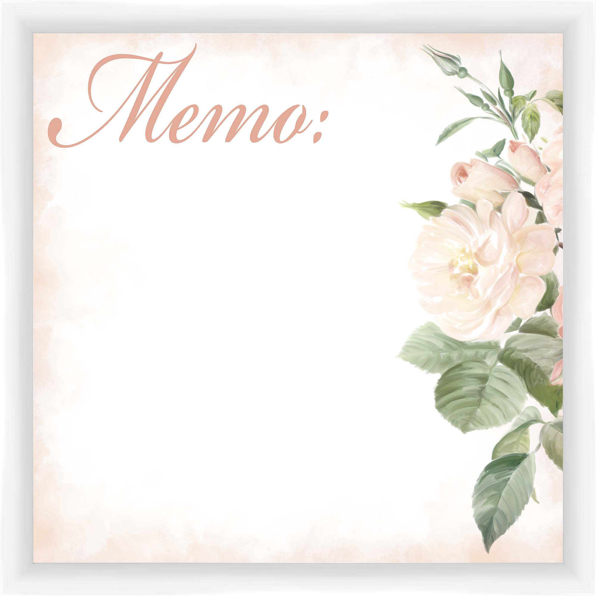 Rose White Memoboard