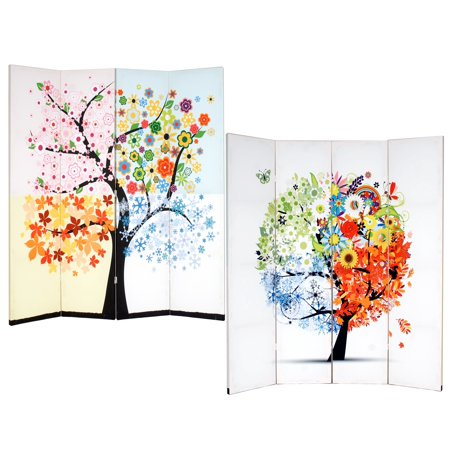 Roundhill Furniture 4-Panel Double Sided Painted Canvas Room Divider Screen, Life Tree, 17 x 71in, Multicolor ()