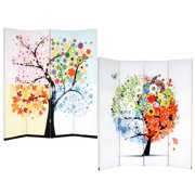 Roundhill Furniture 4-Panel Double Sided Painted Canvas Room Divider Screen, Life Tree, 17 x 71in, Multicolor