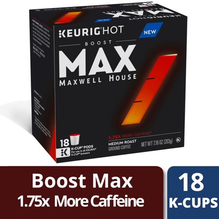 MAX Boost by Maxwell House 1.75x Caffeine Medium Roast Ground Coffee K-Cup Pods, 18