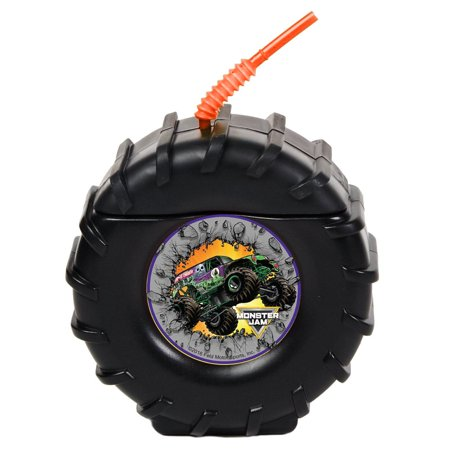 monster jam childrens birthday party supplies - truck tire plastic sippy cup with straw (8) (Monogrammed Cups With Straw)