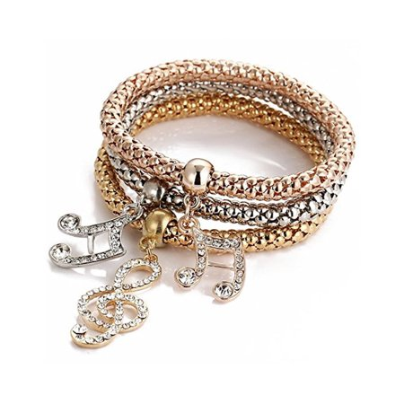 Novadab Soft Jazz Musical Notes Trio Charm Bracelet Set