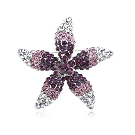 Purple Clear Crystal Rhinestone Starfish Star Lily Flower Pin Brooch ()