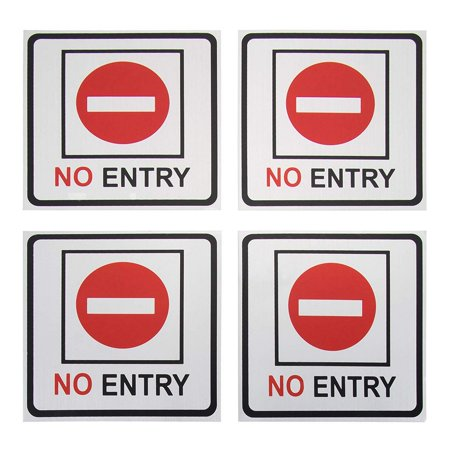No Entry Signs - 4-Pack Metal No Trespass Signs, Aluminum Private Property Signs, Self-Adhesive, Ideal for Office, Retail, Restaurants, Indoors and Outdoors, 5.5 x 5.5 Inches - image 6 of 6
