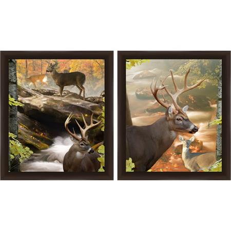 Deers in Nature Wall Art, Set of 2