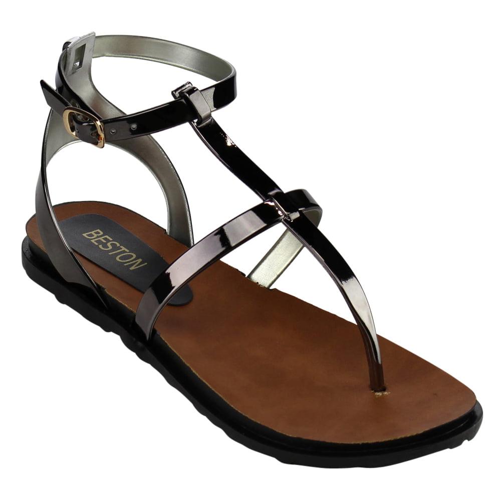 Flat heel sandals images - Beston Ab17 Women S Jelly Thong T Strap Buckle Flat Heel Sandals Walmart Com