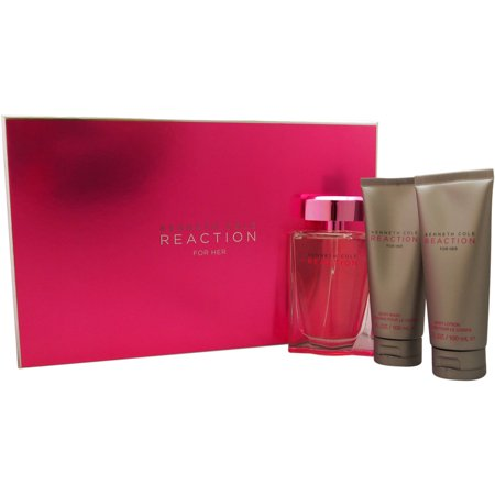 Kenneth Cole Reaction by Kenneth Cole for Women - 3 Pc Gift Set 3.4oz EDP Spray, 3.4 oz Fortifying Body Lotion, 3.4oz Bath and Shower Gel
