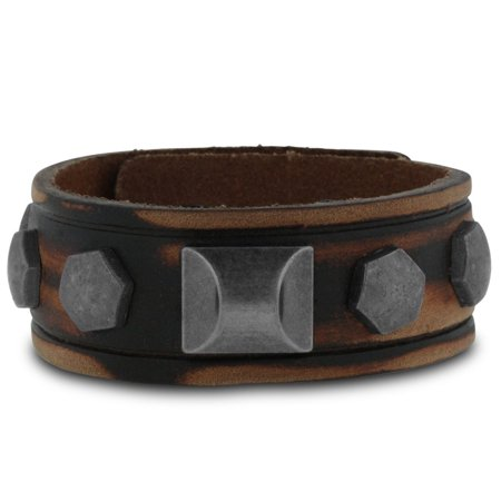 Men's Rockstar Leather Bracelet, 3/4 Inches - Rockstar Jewelry