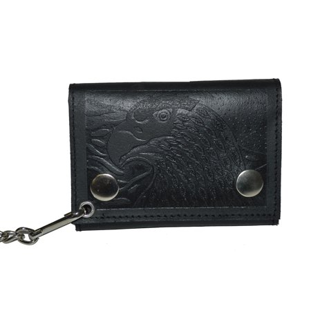 Biker's Wallet ID Card Holder with Chain Genuine Leather - US