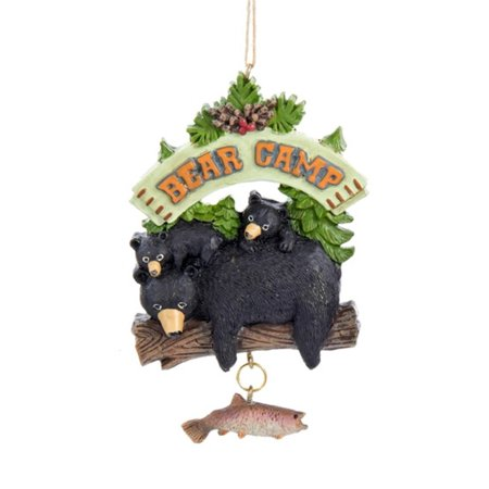 "3.75"" Black, Brown and Green Black Bear Camp Christmas Ornament - image 1 ..."