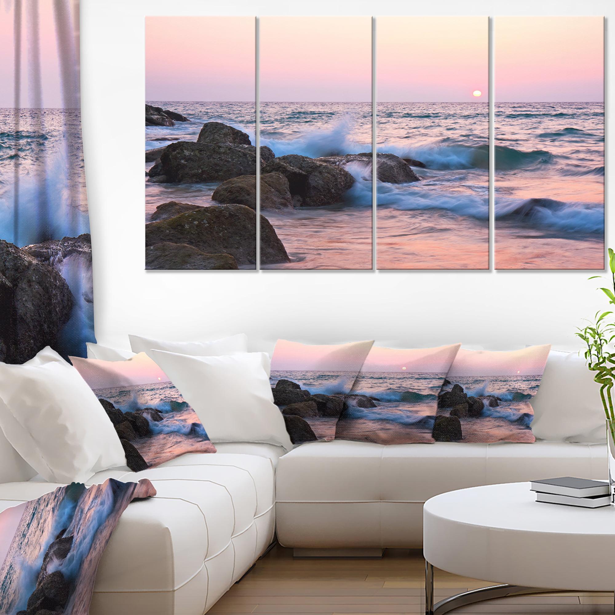 Rocky Coast with Foam Waves - Large Seashore Canvas Print - image 2 de 3