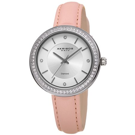 Akribos XXIV Womens Sunray Dial Pink Leather Diamond Watch [AK1067PK]