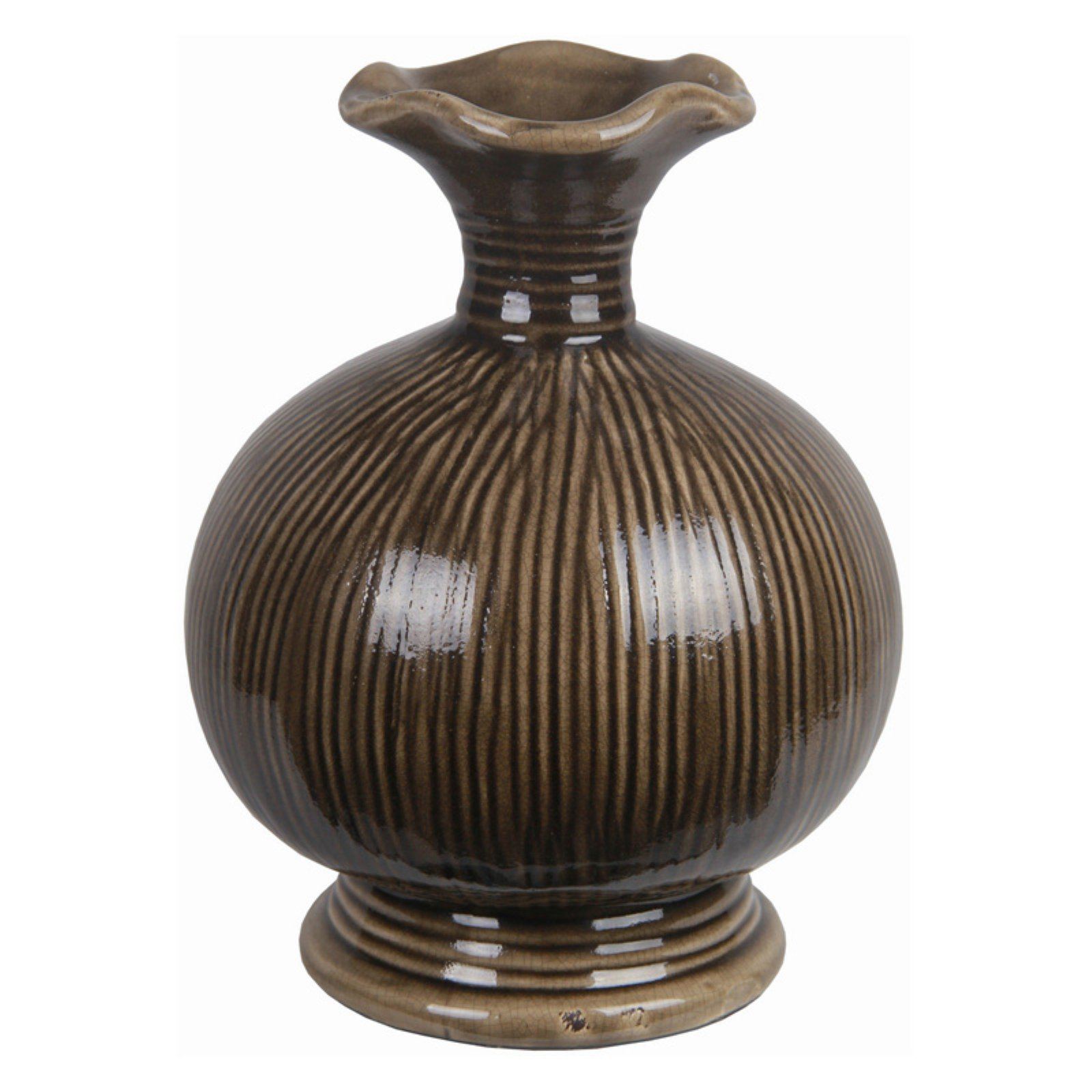 Privilege International Striped Ceramic Table Vase