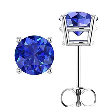 14k White Gold Sterling Silver 1 Ct Round CZ Stud Earrings