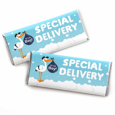 Boy Special Delivery - Candy Bar Wrapper Blue It's A Boy Stork Baby Shower Favors - Set of 24
