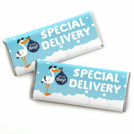 Boy Special Delivery - Candy Bar Wrapper Blue It's A Boy Stork Baby Shower Favors - Set of 24 - Blue Wrapped Candy