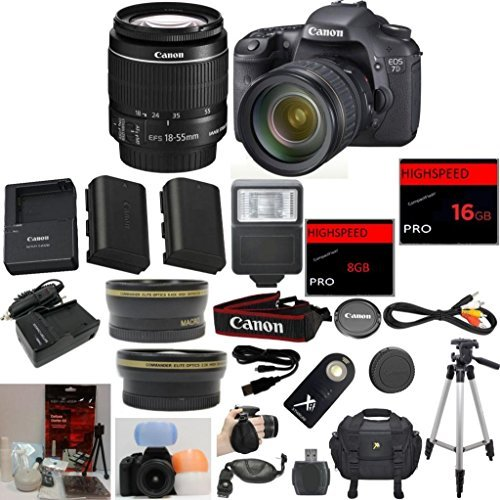 Canon EOS 7D Digital SLR Camera 33rd Street Bundle with EF-S 18-55mm IS Lens + Wide Angle Auxiliary Lens + Telephoto Auxiliary Lens + Extra High Capacity Battery + Extra Worldwide Use Charger + Digita