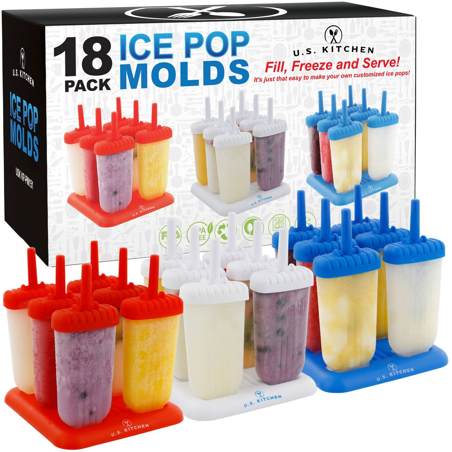 18-Piece Classic Reusable Jumbo Ice Pop Mold Set, 18 REUSABLE ICE POP MOLDS: 3 convenient color coded 6 pack sets in Red, White and Blue for a total of 18.., By U.S. Kitchen Supply,USA