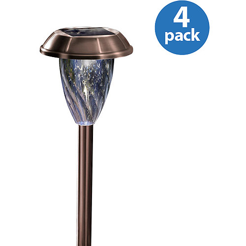 Moonrays 91758 Keswick-Style Premium Output Solar Powered Metal LED Path Lights, Set of 4, Pearl Bronze Finish by Coleman Cable Inc