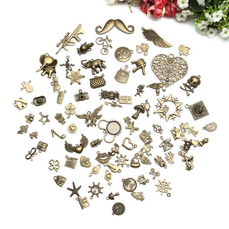 ARTISTORE 100 Pieces Alloy Mixed Charms Pendants DIY for Jewelry Making and