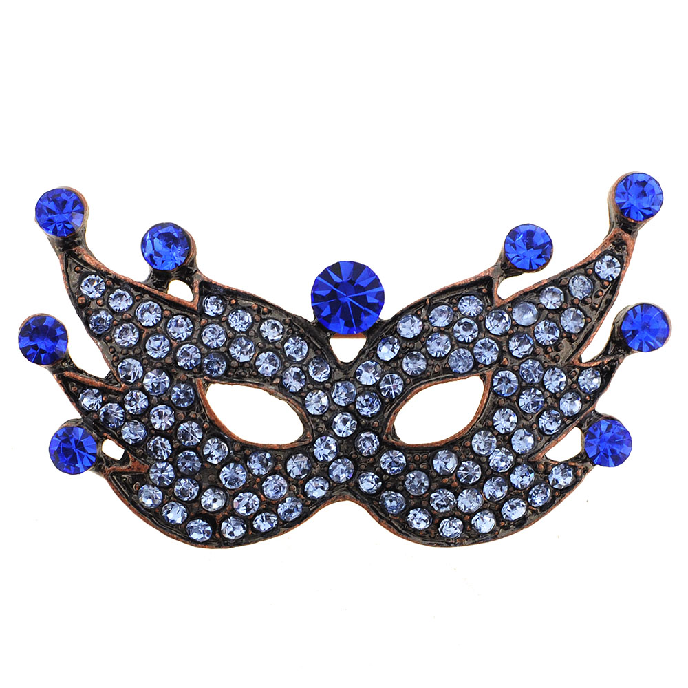 Sapphire Blue Crystal Masquerade Mask Pin Brooch by