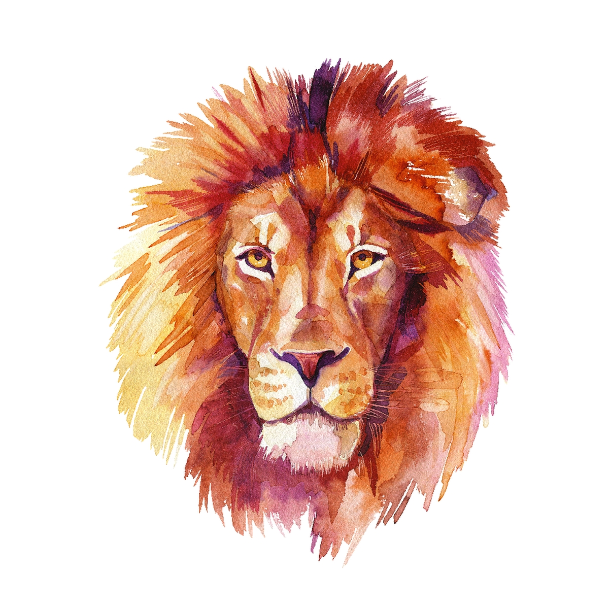 Lion Home Wall Shelf Decor Animal Decorations Watercolor Square Sign - 9x9