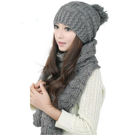 DZT1968® 1Set Women Warm Woolen Knit Hood Scarf Shawl Caps Hats